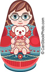 Matryoshka. Babushka doll. - Matryoshka. Russian folk wooden...