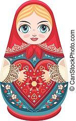 Matryoshka. Babushka doll.  Russian culture. Cute icons