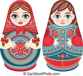 Matryoshka. Babushka doll. Set - Matryoshka. Russian folk...