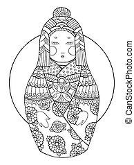 Matryoshka coloring book for adults vector - Matryoshka...