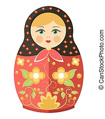 Matryoshka doll or Russian nesting doll floral traditional ornament vector icon