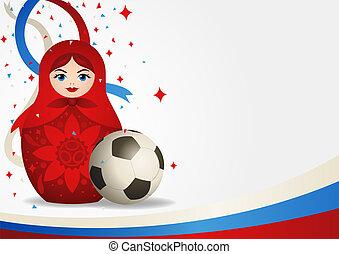 Matryoshka doll with soccer ball - Matryoshka doll or...