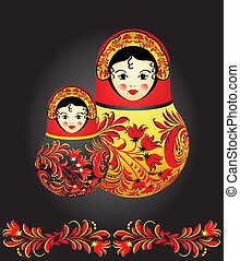 Matryoshka dolls with traditional Russian floral pattern...