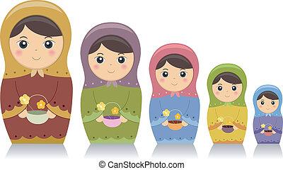 Matryoshka Dolls - Illustration Featuring Matryoshka Dolls...