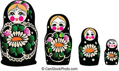 Matryoshka dolls in vector, Russian nested dolls, Babushka...