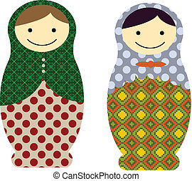 Matryoshka dolls - Vector illustration of matryoshka russian...