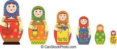 Matryoshka Flat Icons Collection - Matryoshka zagorje family...