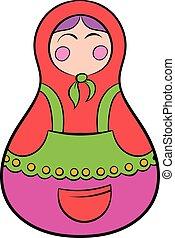 Matryoshka icon cartoon - Matryoshka icon in cartoon style...