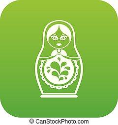 Matryoshka icon digital green for any design isolated on...