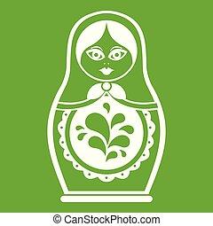 Matryoshka icon green - Matryoshka icon white isolated on...