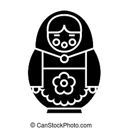 matryoshka icon, vector illustration, black sign on isolated background