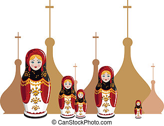 Matryoshka - Illustration of Russian dolls with onion domes...
