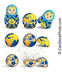 Matryoshka in blue color with a planet inside and inside the world there is soccer ball and inside the ball there is explosion of confetti. Matryoshka doll also known as a Russian nesting doll is a set of wooden dolls of decreasing size placed one inside another.