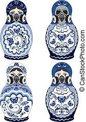 Matryoshka in respirator - Traditional Russian souvenir...