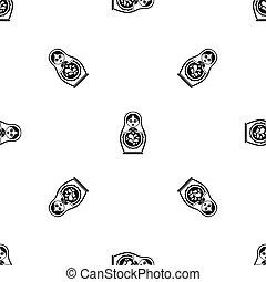 Matryoshka pattern seamless black