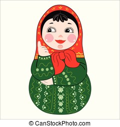 Matryoshka Russian doll vector illustration