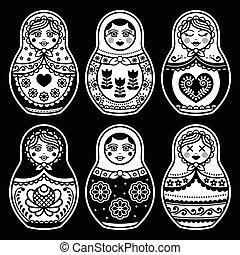Matryoshka, Russian doll white icon - Russian folk art -...