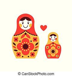 Matryoshka russian dolls. Mother and daughter - Matryoshka...
