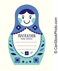 Matryoshka russian nesting doll baby invitation