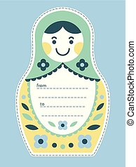 Matryoshka russian nesting doll gift tag or card