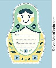 Matryoshka russian nesting doll gift tag or card -...