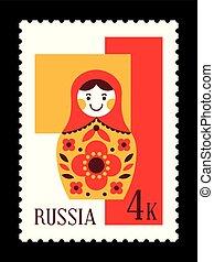 Matryoshka russian nesting doll postal stamp, mail from...
