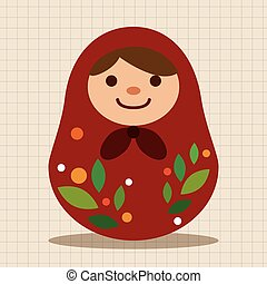 Matryoshka , Russian traditional wooden doll, vector...