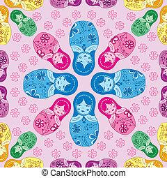 matryoshka seamless pattern