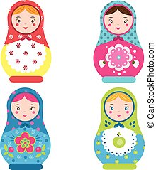 Matryoshka set. Traditional russian nesting dolls. Smiling Matreshka icon. Vector illustration