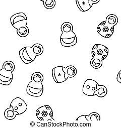 Matryoshka Toy Vector Seamless Pattern