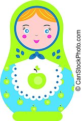 Matryoshka. Traditional russian nesting doll. Smiling Matreshka icon. Vector illustration