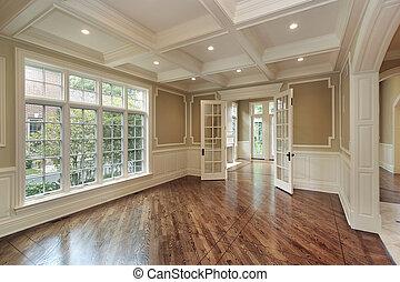 matsal, in, färsk, konstruktion, hem