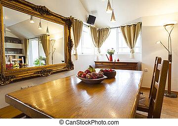Restaurang, belysning, rum. Närbild, glas, restaurang ...