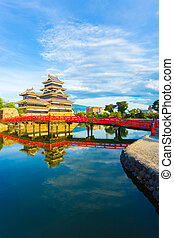 Matsumoto Castle Bridge Water Reflection V