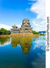 Matsumoto Castle Front Keep Moat Reflection