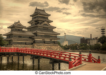 Entranceway to the historic Matsumoto Castle dating from the 15th Century in Matsumoto, Japan.