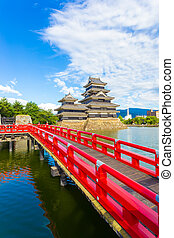 Matsumoto Castle Red Bridge Moat Foreground V