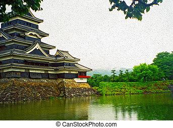 matsumoto, pittura, foto, castello, giapponese, stilizzato, ...