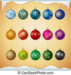 Matt colored christmas balls with snowflakes ornament