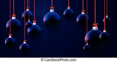Matt dark blue and violet christmas baubles hanging on red ribbons with bows. Black background. Vector festive illustration.