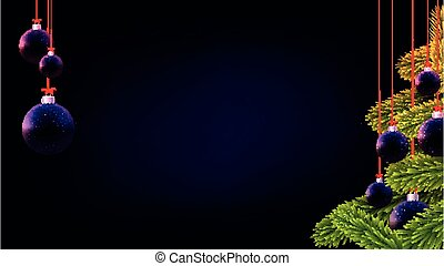 Matt dark blue and violet christmas baubles with green spruce branches. Black background. Vector festive illustration.