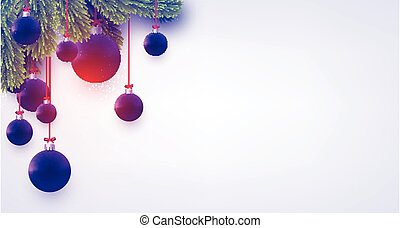 Matt dark blue and violet christmas baubles with green spruce branches. Light grey background. Vector festive illustration.