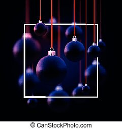 Matt dark blue christmas baubles hanging on red ribbons with bows. Black background. Vector festive illustration.