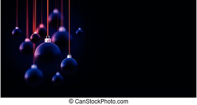 Matt dark violet christmas baubles hanging on red ribbons with bows. Black background. Vector festive illustration.
