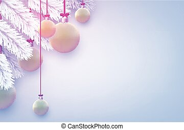 Matt green christmas baubles with white spruce branches. Light grey background. Vector festive illustration.