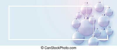 Horizontal frame with matt light blue christmas balls hanging on threads. Space for text. Vector festive illustration.