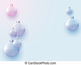Matt light blue and pink christmas balls hanging on threads. Space for text. Vector festive illustration.