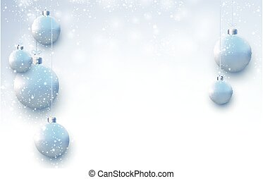 Matt light blue christmas balls hanging on threads. Snowing weather. Space for text. Vector festive illustration.