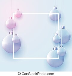 Square frame with matt light blue and pink christmas balls hanging on threads. Space for text. Vector festive illustration.