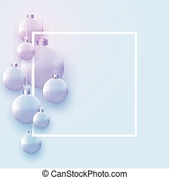 Square frame with matt light blue christmas balls hanging on threads. Space for text. Vector festive illustration.